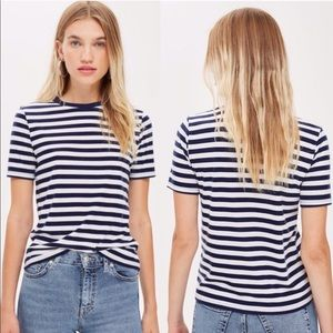 Topshop Premium Striped T-Shirt Navy and White